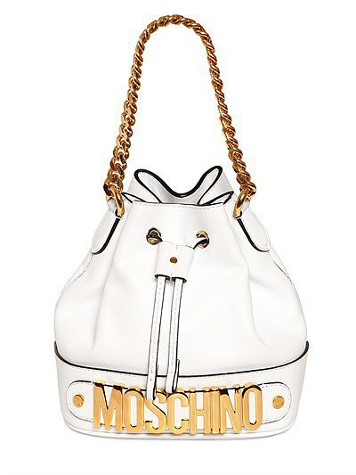 Moschino Mini White Bucket Bag