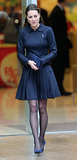 Kate Middleton in Navy Pleated Dress