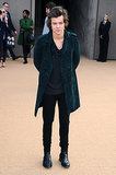 Harry Styles showed up in style for the Burberry Prorsum show in London.