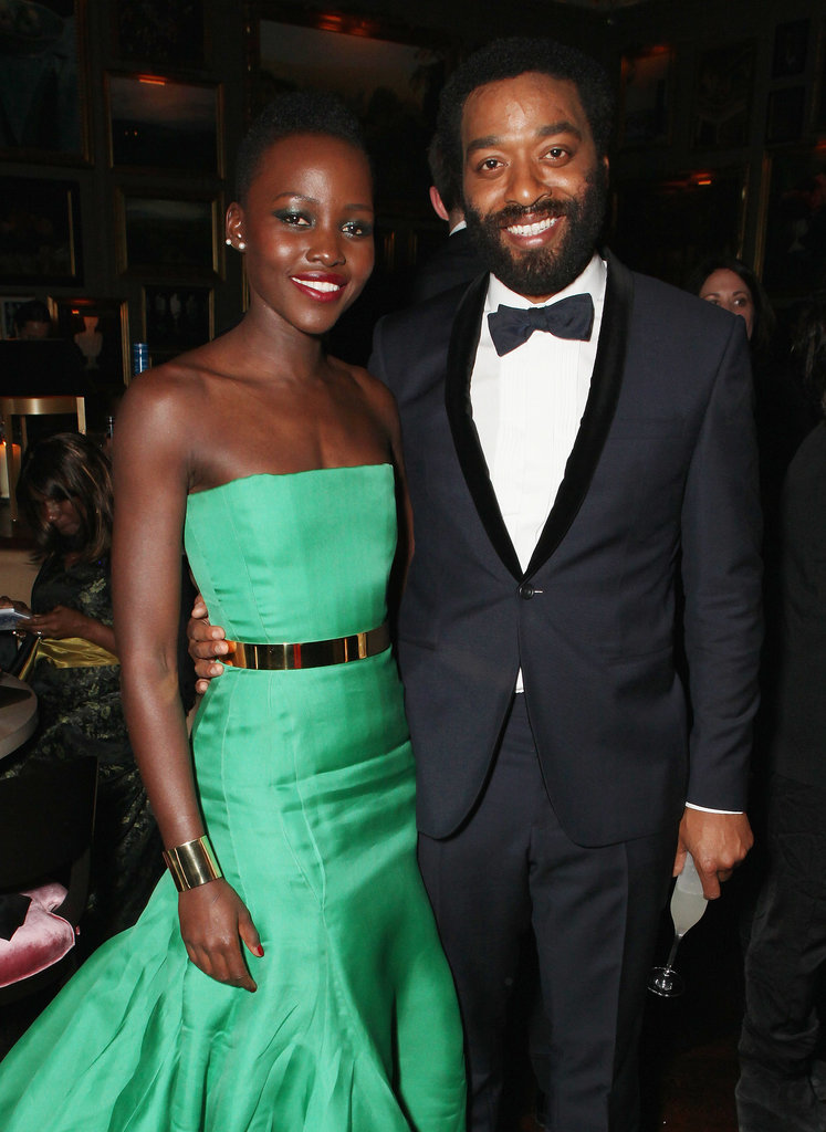 Lupita stopped for a stunning photo with her 12 Years a Slave costar Chiwetel Ejiofor at the BAFTA afterparty.