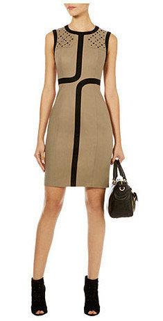 Geometric Striped Trimming Slim Dress