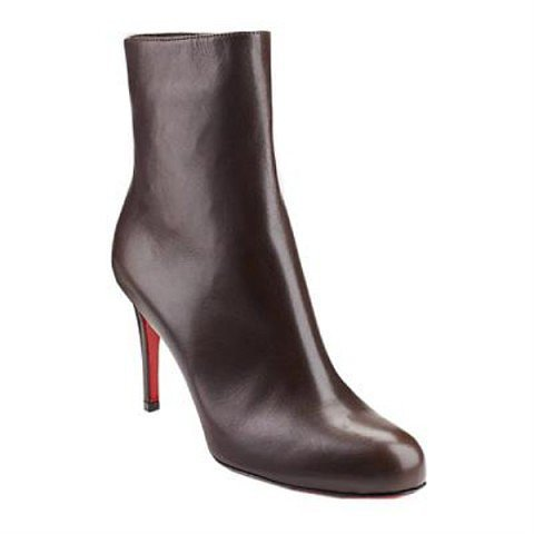 Christian Louboutin Simple 120mm Leather Ankle Boots Chocolate