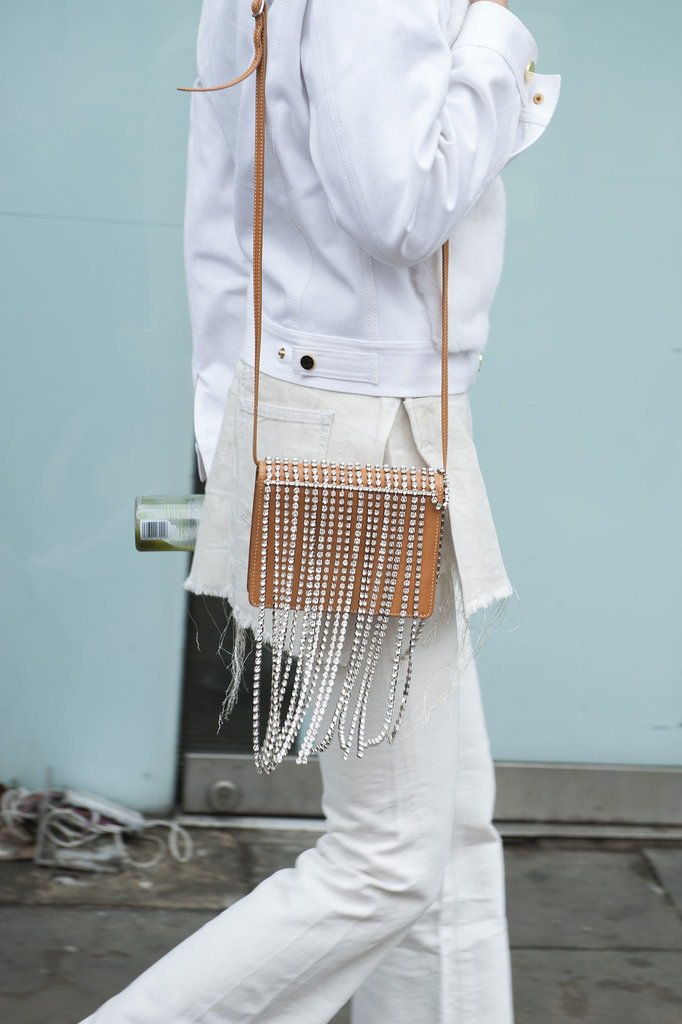 Instead of fringe, this bag boasts beautiful crystals.