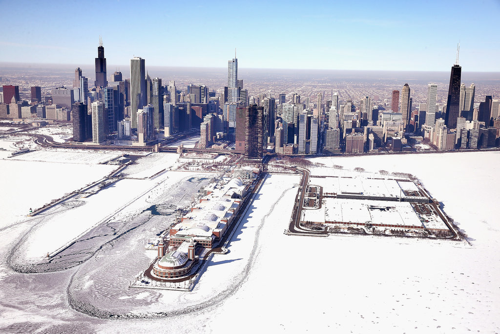 Chicago's Navy Pier sits in the now ice-covered Lake Michigan.