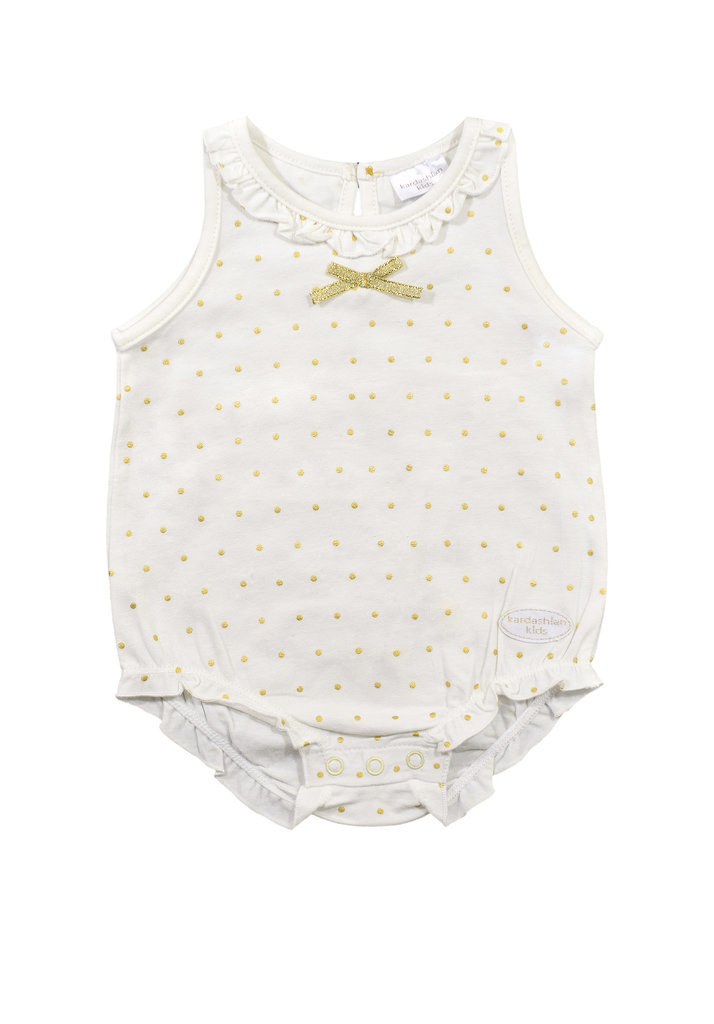 Sleeveless Onesie With Gold and Ruffles