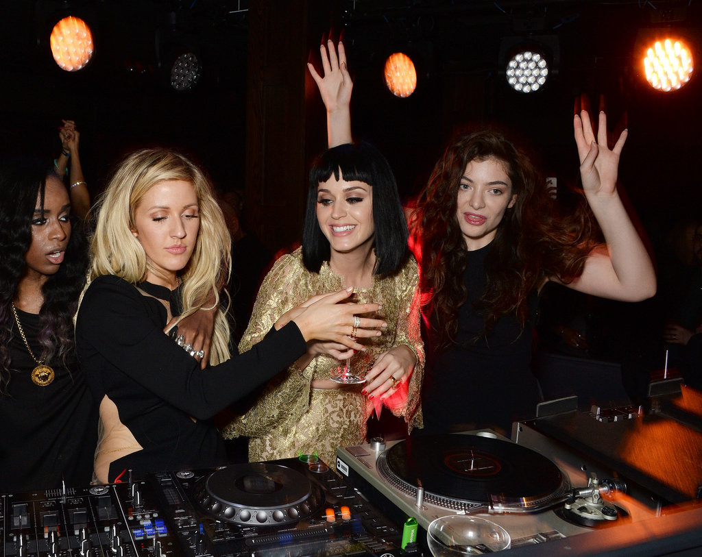 Ellie Goulding, Katy Perry, and Lorde took over the DJ booth at a Brit Awards afterparty in London on Wednesday.