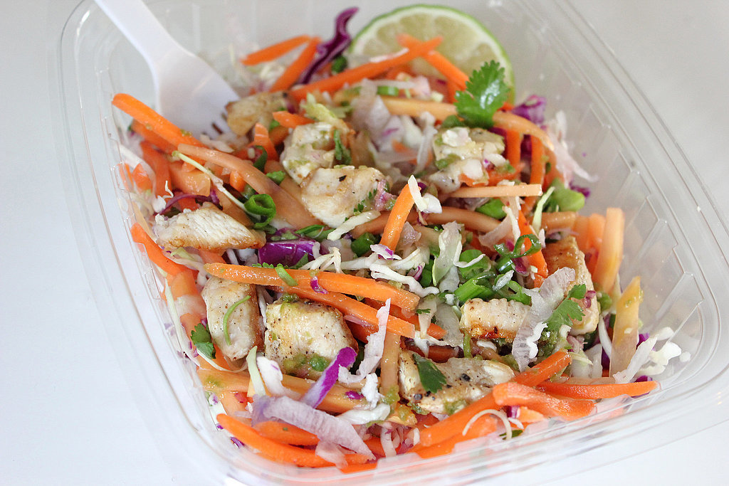 Thursday: Thai citrus chicken salad (200 calories) with one banana (105 calories) and one of tablespoon peanut butter (95 calories): 400 calories  Friday: Spicy sweet potato salad (270 calories) with a bowl of broccoli arugula soup (129 calories: 399 calories  Photo: Leta Shy