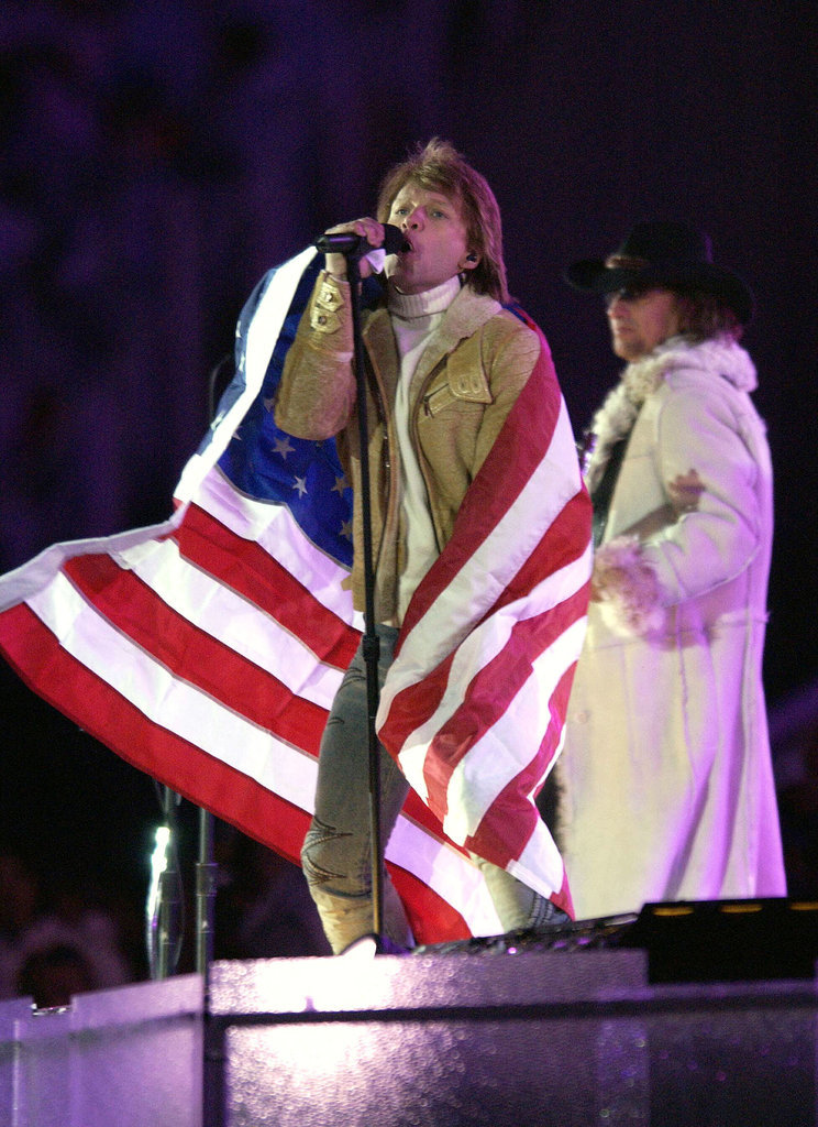 And Bon Jovi wrapped himself in the American flag.