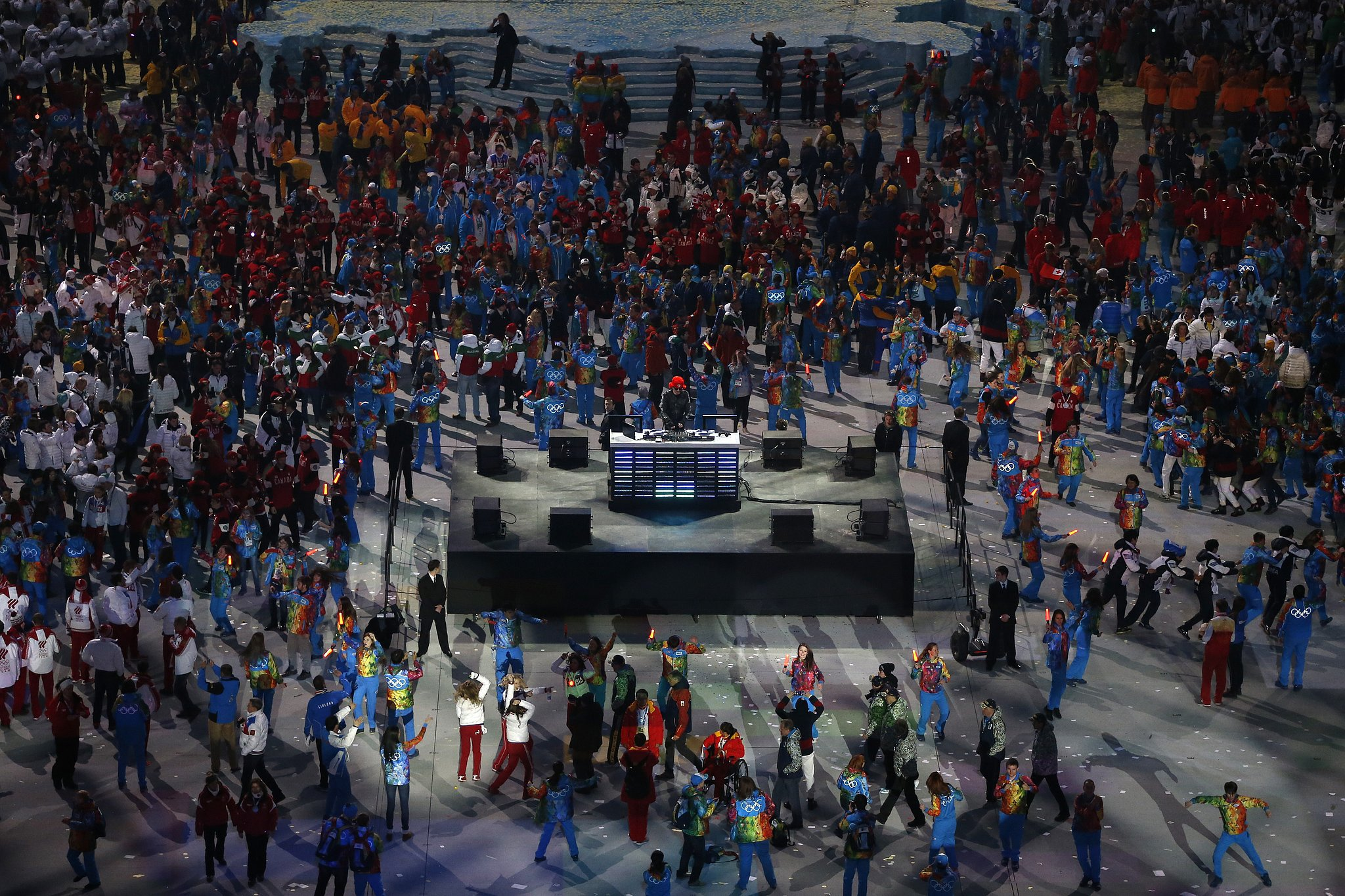 Olympic athletes danced following the Sochi closing ceremony.