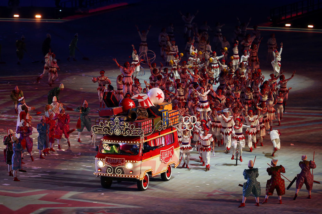 A circus bus made its way through the stadium.