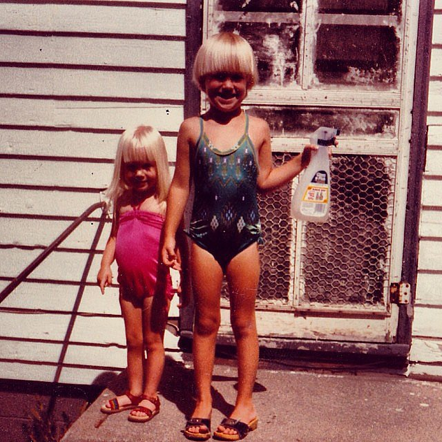 """I've always been very tidy it seems . . . but this job looks like it's gonna require some help. #sisters #TBT,"" January wrote.  Source: Instagram user januaryjones"