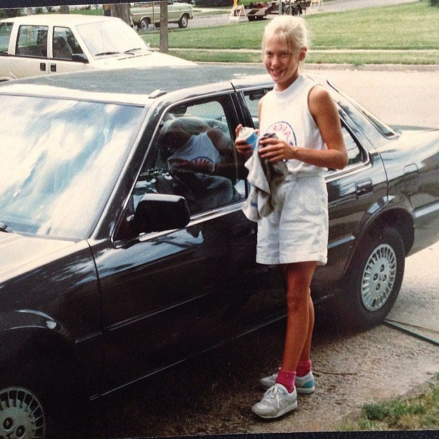 "From an early age, January grasped the importance of hard work. ""#tbt to when I'd wash the honda with a smile for extra cash. #gottahustlebitches,"" she wrote.  Source: Instagram user januaryjones"