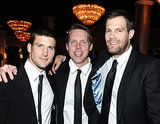 The guys of Enlisted — Parker Young, Geoff Stults, and Kevin Biegel — huddled together for a guys-only snap.