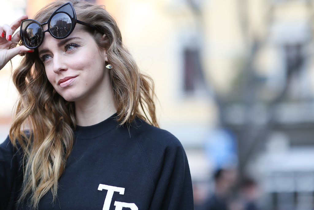 Chiara Ferragni has some serious cat-eye shades.