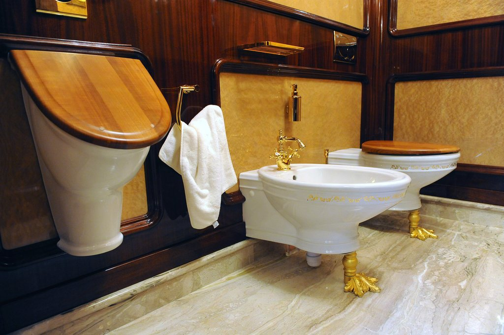 One of the estate's bathrooms features gold-accented toilets.