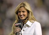 "In 2004, she started working for ESPN as a reporter for National Hockey Night. Soon, she took on sideline reporting duties for both college football and major league baseball. By 2007, she was named ""America's Sexiest Sportscaster"" by Playboy Magazine. She had already made a name for herself in the sports world, when a peeping Tom scandal thrust her into the national spotlight in 2009. Footage of Erin naked in a hotel room was released online, and the stalker was later arrested and sentenced to 30 months in prison. Erin told Oprah that she thought her career was over because of the scandal but added, ""I also feel it's my duty to come out and show this person, you know what? I worked hard for my career and I — I got there the right way, and you're not gonna break me down."""