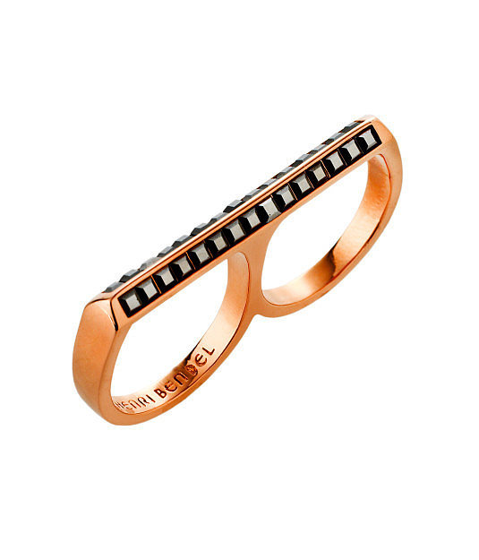 Henri Bendel Pavé Deco Bar Double Ring