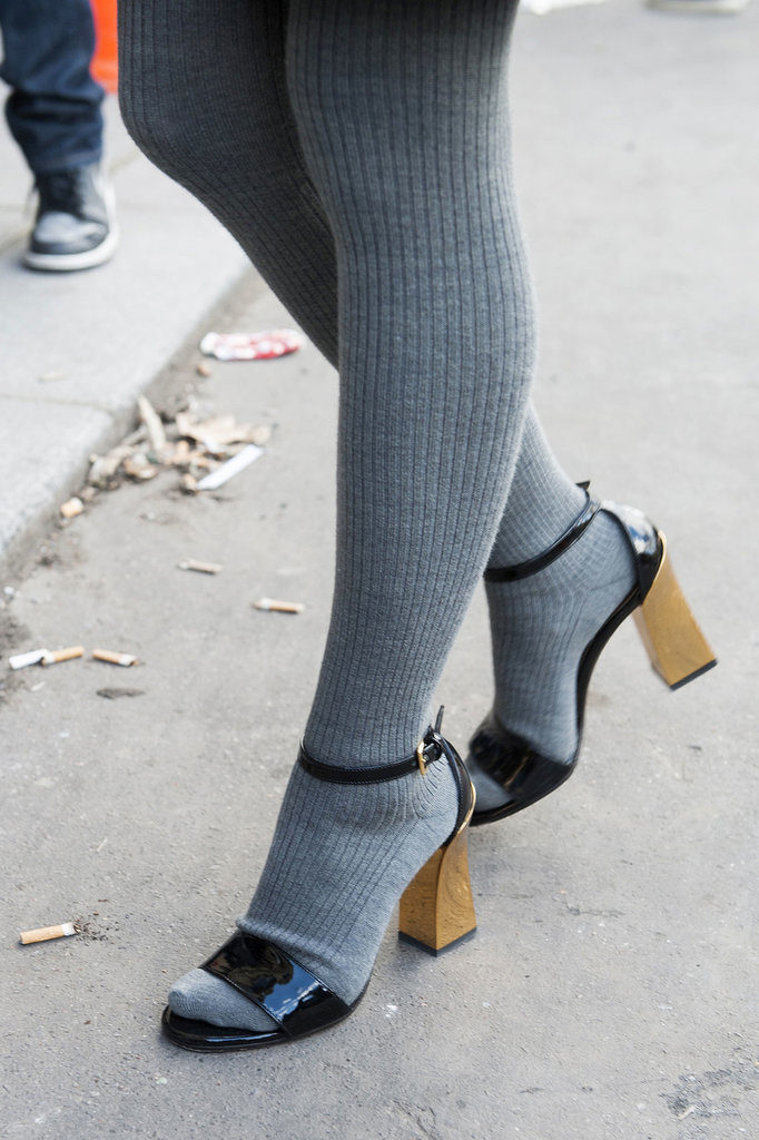 Chunky sandals look even more adorable with tights.