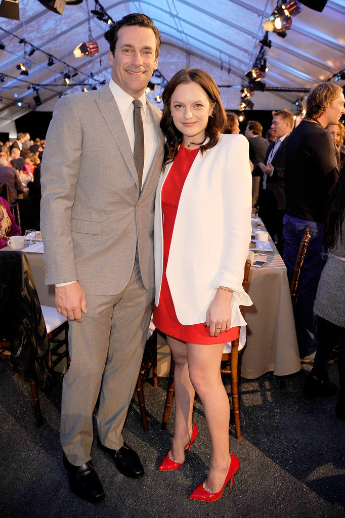 Mad Men costars Jon Hamm and Elisabeth Moss buddied up.