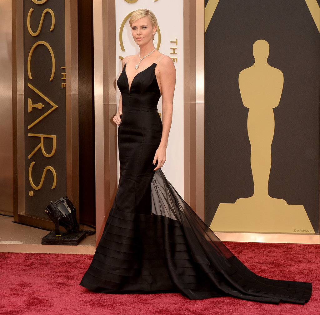 Charlize Theron in Black Dior Dress at the Oscars