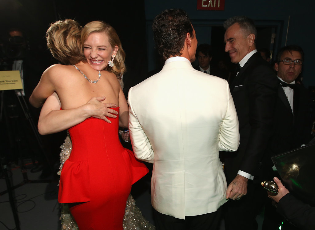 Cate Blanchett gave Jennifer Lawrence a big hug backstage.