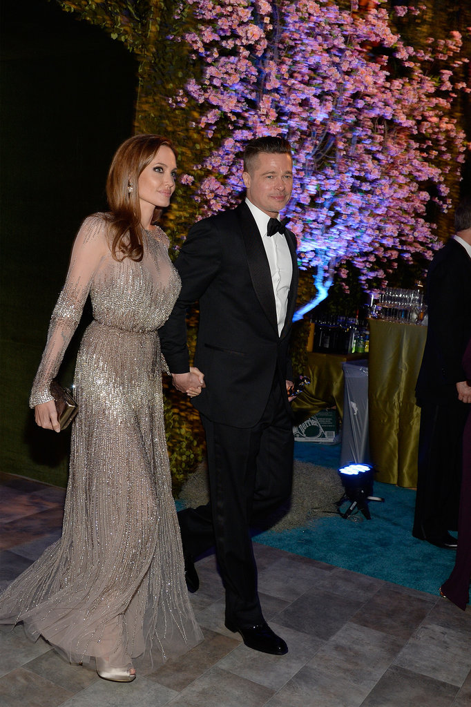 Angelina Jolie and Brad Pitt walked into the party.