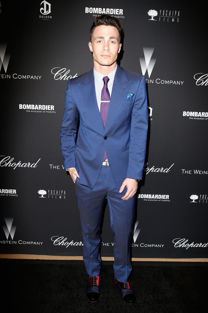 Teen Wolf star Colton Haynes looked dapper in blue.