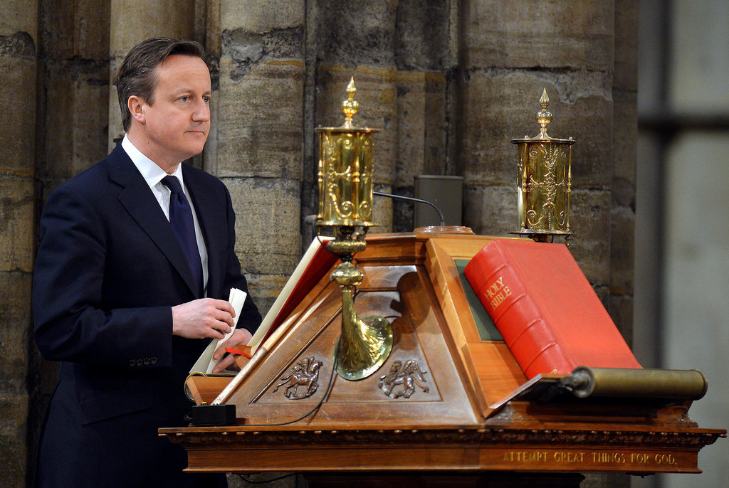 Prime Minister David Cameron spoke at the service.