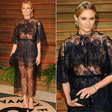 Diane Kruger Black Lace Dress at Vanity Fair Oscars Party