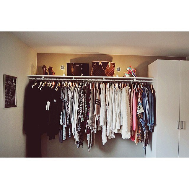 Notice how this user's clothes are arranged by color (fabulous) and how even the sneakers are placed in a way that give the space some spunk. Staging at its finest!  Source: Instagram user malinbrinde