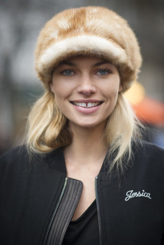 Jessica Hart's hat isn't just a fashion statement, it's a cute way to stay warm.