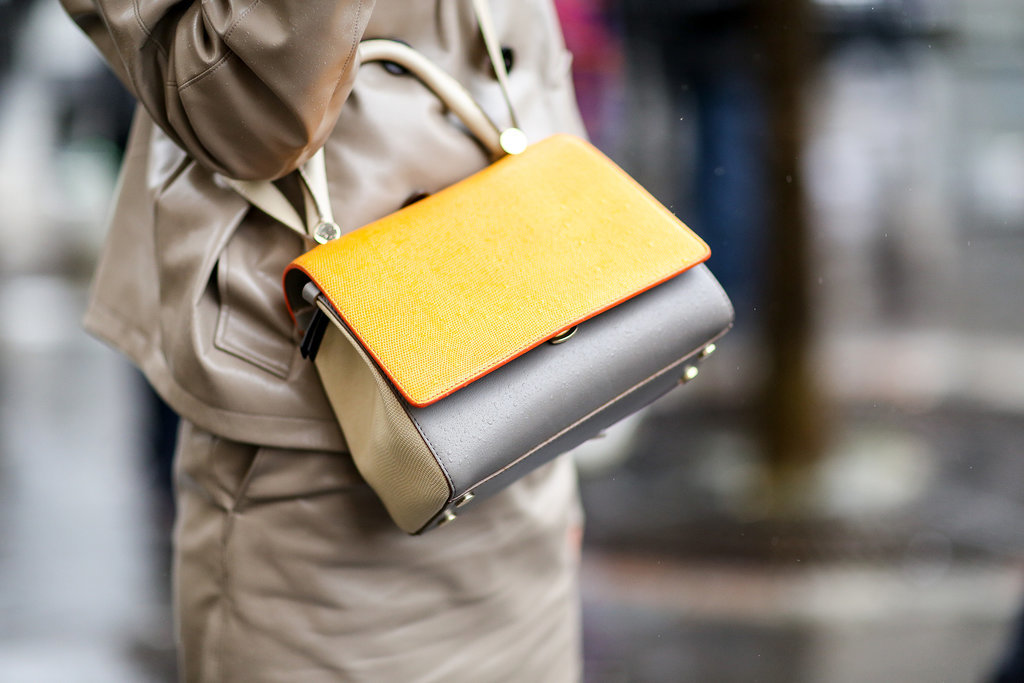 A two-tone, structured crossbody bag nails three trends in one.