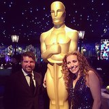 POPSUGAR CEO Brian Sugar and editor in chief Lisa Sugar posed with the golden man himself. Source: Instagram user lisapopsugar