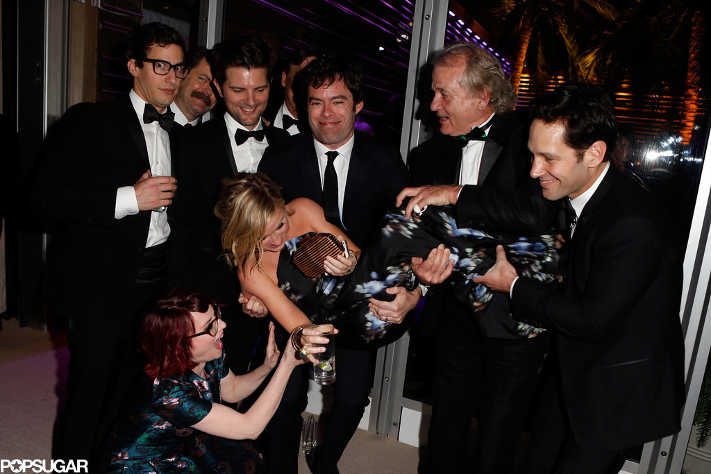 Amy Poehler got a lift from Andy Samberg, Nick Offerman, Bill Hader, Adam Scott, Bill Murray, and Paul Rudd with a little extra help from Megan Mullally at the Vanity Fair afterparty.