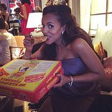Pregnant Kerry Washington snacked on pizza backstage.  Source: Instagram user kerrywashington