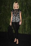 For a Chanel party in early 2014, she picked black skinnies and a lacy top that showed some skin through the thin fabric.