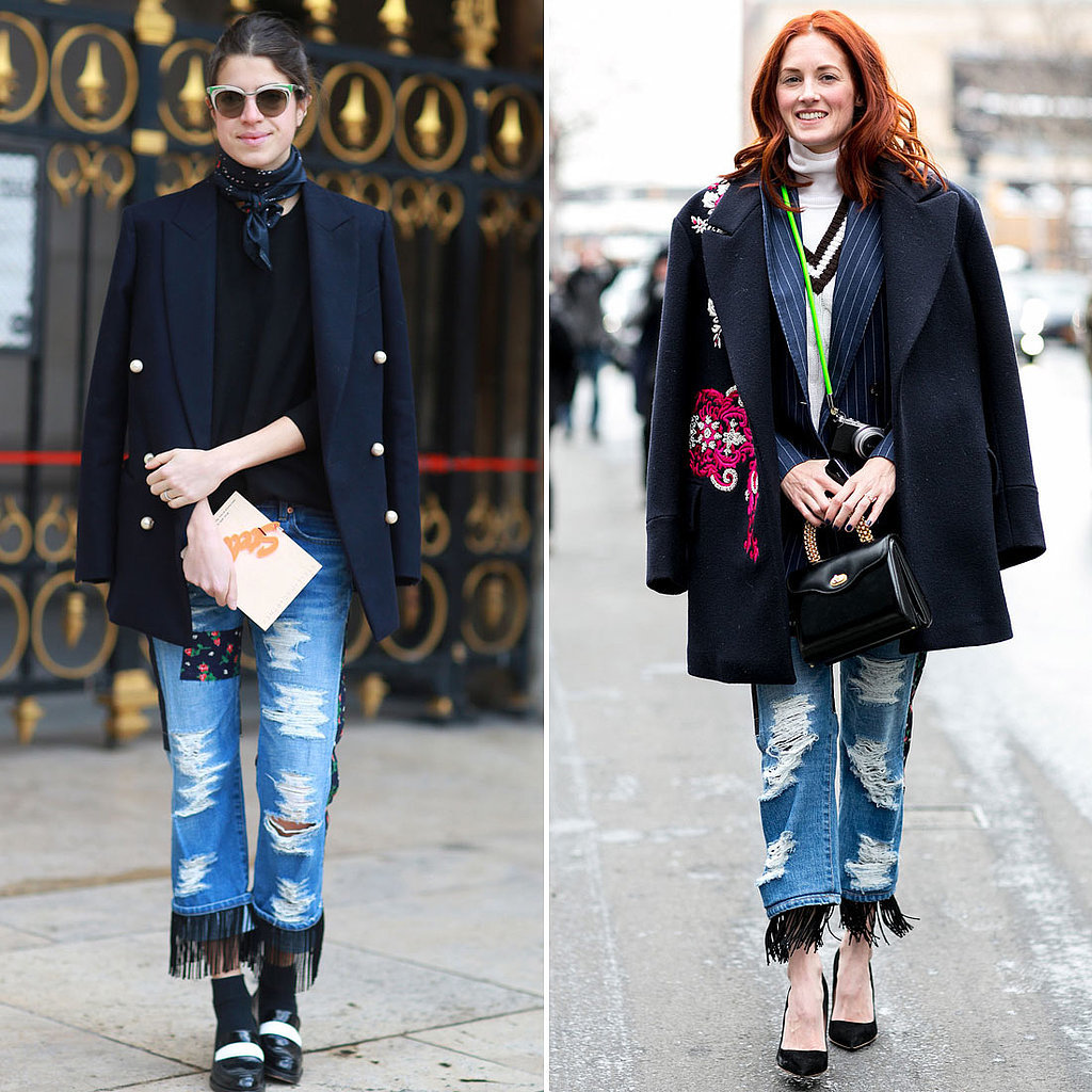 Both Leandra Medine and Taylor Tomasi Hill were on the same wavelength when it came to selecting quirky-cool Junya jeans and structured blazers to top them off.  Source: Tim Regas and IMAXTREE