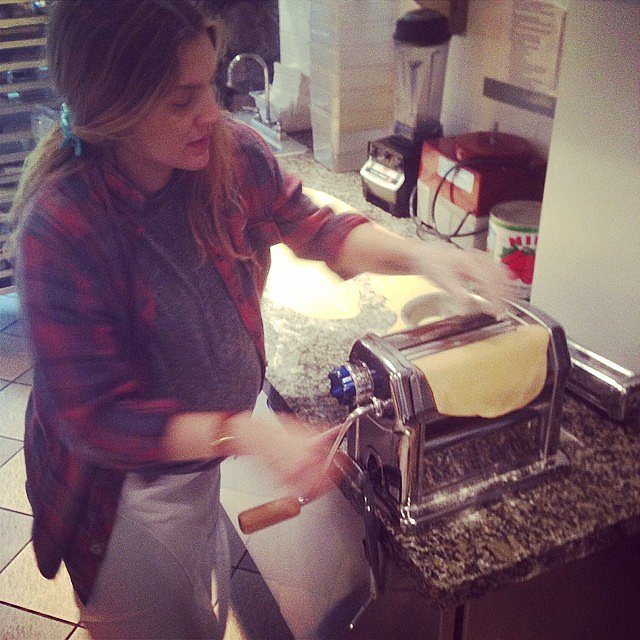 Drew Barrymore rolled out fresh pasta at the Culinary Institute of America.  Source: Instagram user camerondiaz