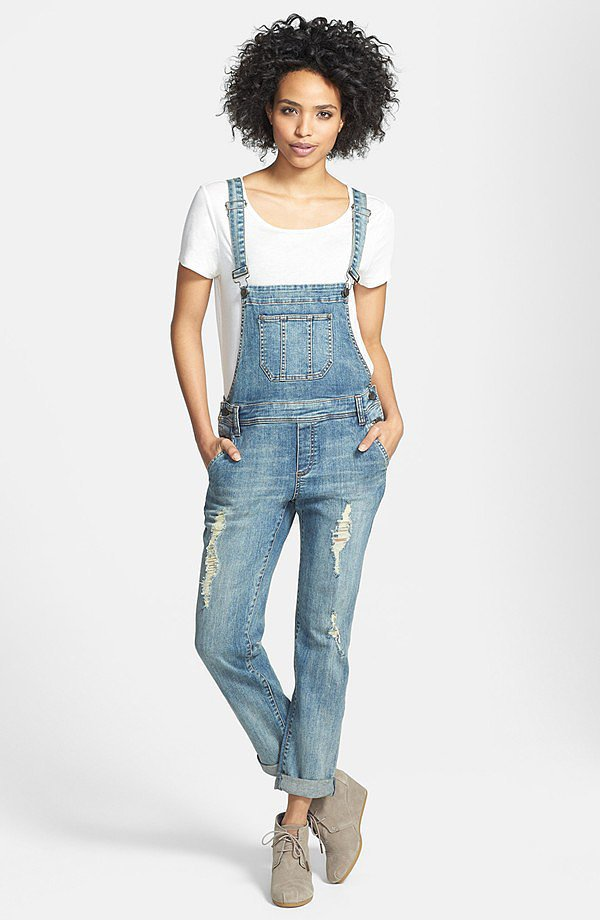Kut from the Kloth distressed boyfriend jean overalls ($98)