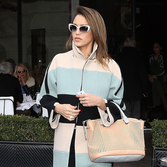Jessica Alba in Striped Coat