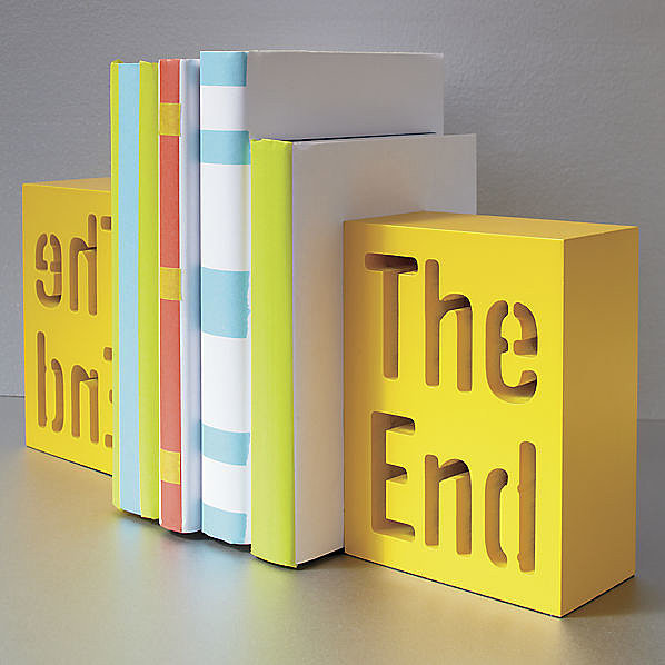 Cheeky and bright, these The End bookends ($15 each) are sure to stand out.