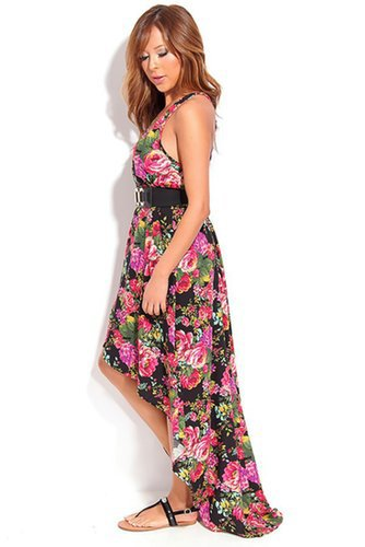 BLACK FLORAL V-NECK SLEEVELESS HIGH LOW MAXI DRESS