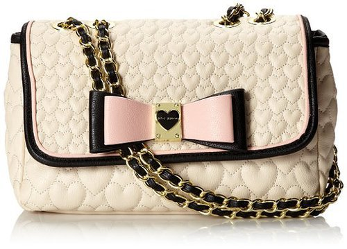 Amazon.com: Betsey Johnson Be My Honey Buns Flapover Shoulder Bag,Cream,One Size: Shoes