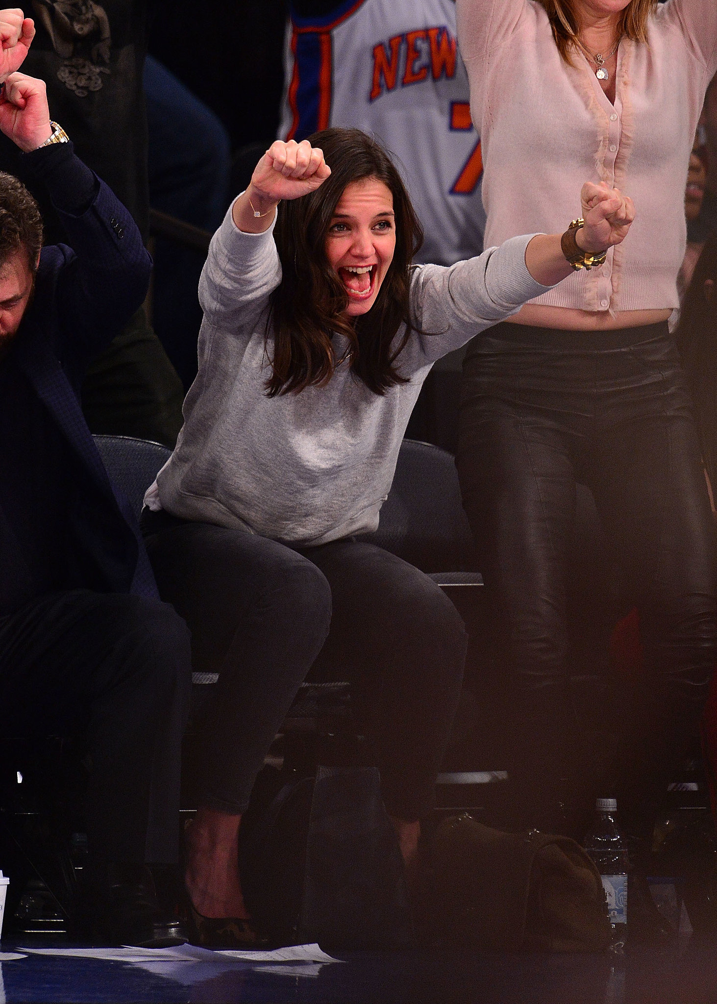 Katie Holmes couldn't contain her excitement after a big moment in the Miami Heat vs. New York Knicks game in January.