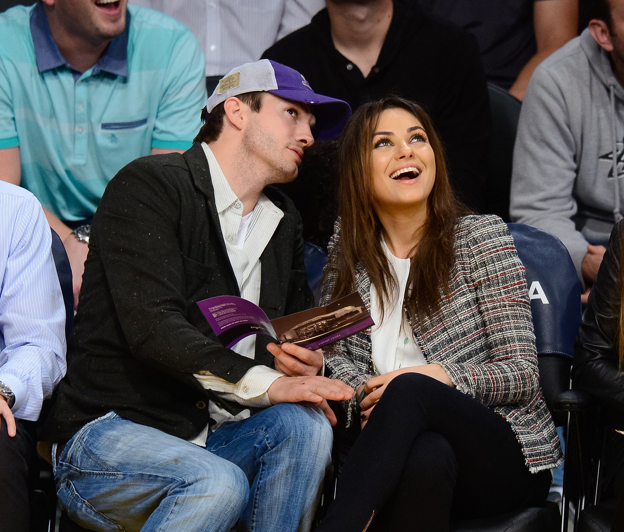 Ashton Kutcher and Mila Kunis were enthralled in the game between the LA Lakers and New Orleans Pelicans in early March.