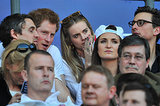 Following his PDA moment at the We Day UK charity event, Prince Harry took his girlfriend, Cressida Bonas, to the England vs. Wales rugby match in London on Sunday.