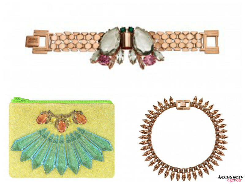 Mawi Lakme Fashion Week Dynasty Retrospective Teardrop Crystal Watchstrap Bracelet Punk Rajah Claw Set Spike Crystal Necklace London Fashion Week Glitter Bug Lemon Drizzle Glitter Clutch
