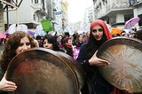 Women played drums during a march through Istanbul on International Women's Day.