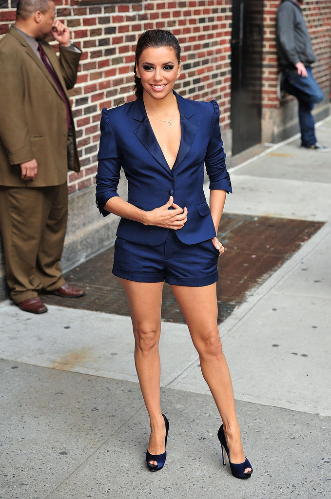 Longoria perfected the shorts suit in a navy two-piece, sans blouse, and coordinating peep-toes while visiting the Late Show With David Letterman in April 2011.