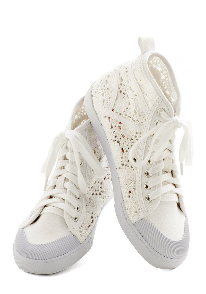 ModCloth Crochet the Word White High-Top Sneakers ($45)